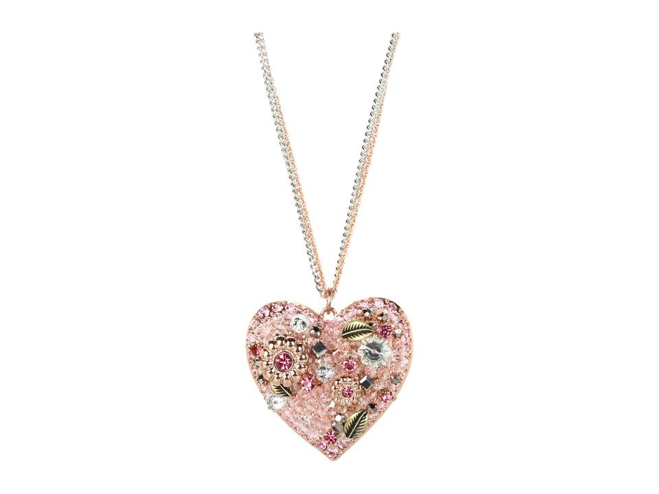 Betsey Johnson - Vintage Rose Vintage Heart 31 Long Necklace (Pink/Rose Gold) Necklace