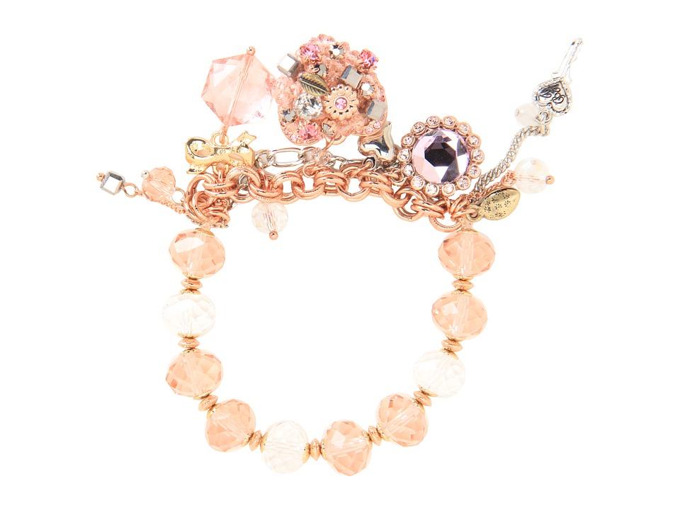 Betsey Johnson - Vintage Rose Vintage Heart Bracelet (Pink/Rose Gold) Bracelet