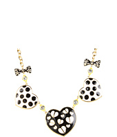 Betsey Johnson - Pretty Polka Dot 3 Heart Bow Necklace