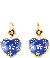 Betsey Johnson - Pretty Polka Dot Flower Heart Drop Earrings