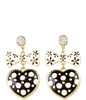Betsey Johnson - Pretty Polka Dot Heart Bow Drop Earrings