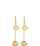 Betsey Johnson - Gold Status Lips Non-Matching Earrings
