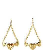 Betsey Johnson - Gold Status 3 Heart Swag Earrings