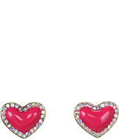 Betsey Johnson - Ivy League Heart Stud Earrings