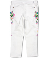 7 For All Mankind Kids - Girls' Cropped Skinny Floral Embroidery in Clean White (Big Kids)