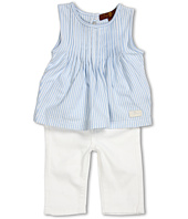 7 For All Mankind Kids - Girls' Striped Jersey Pleated Top & Skinny Jean in White (Infant)