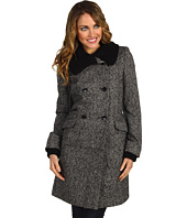 Nicole Miller - Knit Trim Double Breasted Coat
