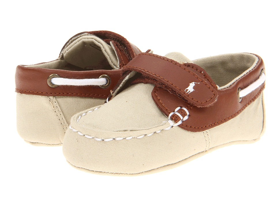 Polo Ralph Lauren Kids - Sander EZ (Infant/Toddler) (Khaki Canvas/Tan Leather) Boys Shoes