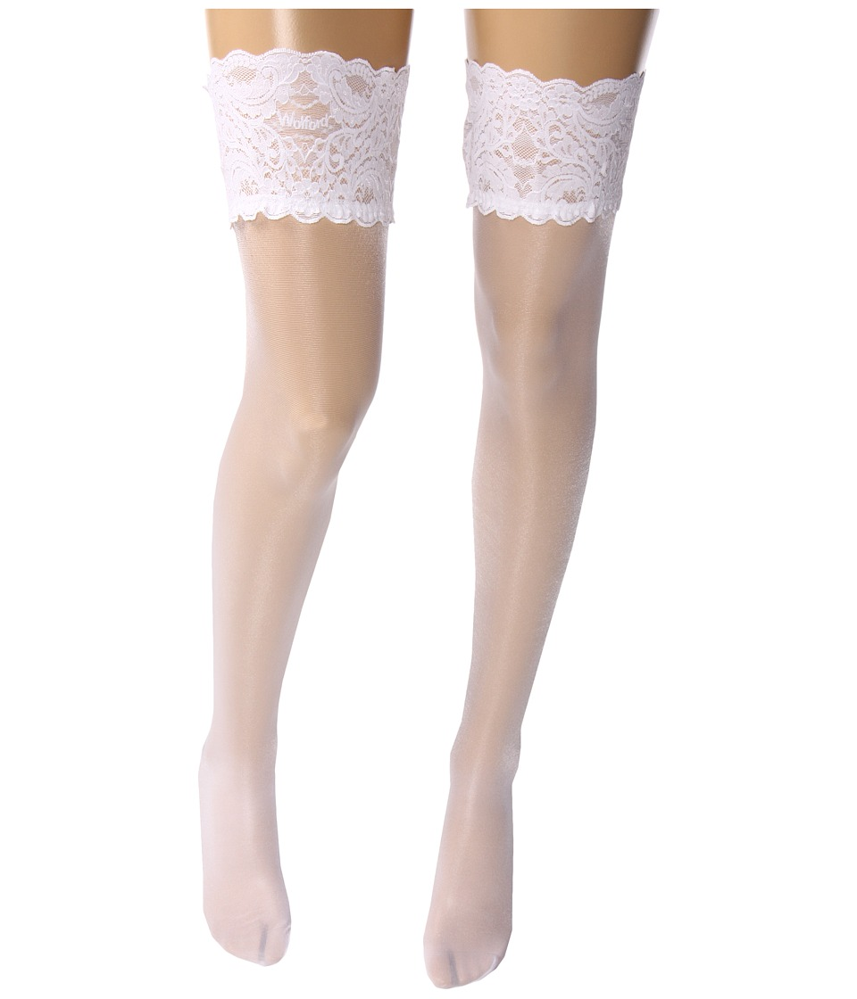 Wolford - Satin Touch 20 Stay-Up Thigh Highs (White) Womens Thigh High Socks Shoes