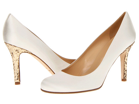 Ivory Satin with Gold Heels Karolina Pumps via KateSpade.com