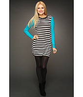 BCBGeneration - Striped Contrast Sleeve Sweaterdress