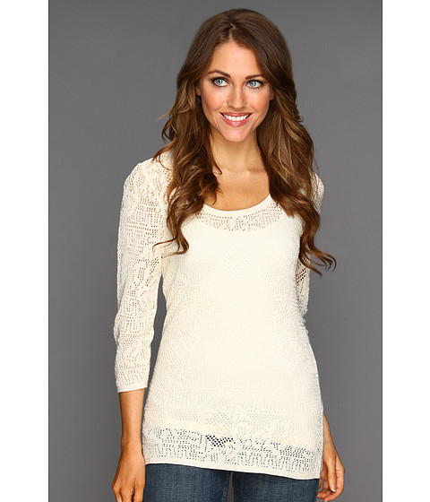Nic+Zoe - Peek-A-Boo Lacy Top (Bone) - Apparel