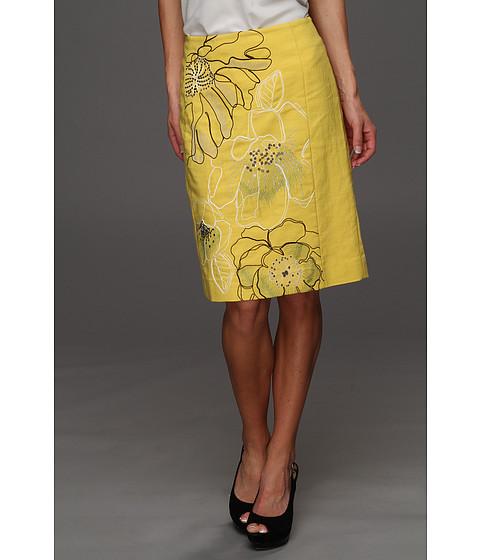 Cheap Nic Zoe Fresh Embroidered Petals Slim Skirt Cream Gold