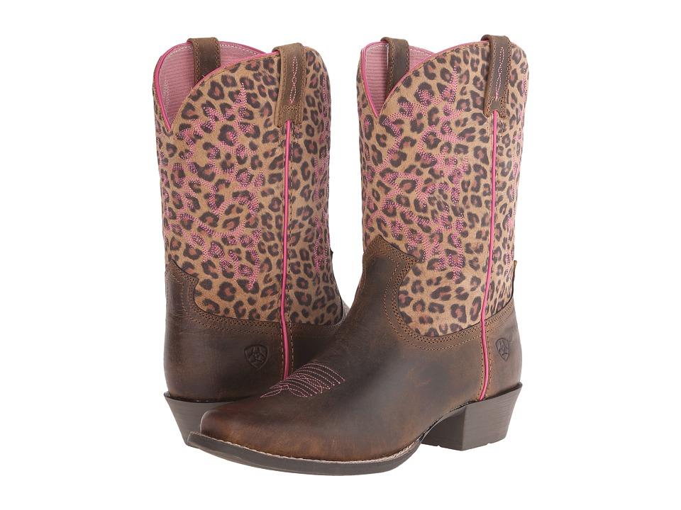 Ariat Kids Legend Toddler/Little Kid/Big Kid Distressed Brown/Leopard Print Cowboy Boots