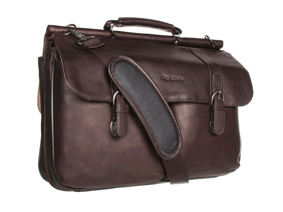 SOLO - Classic 16 Leather Briefcase (Espresso) Computer Bags