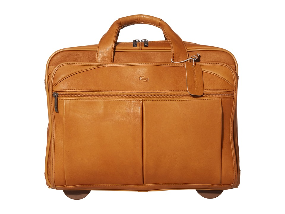 SOLO Classic 15.6 Leather CheckFast Rolling Case Tan Bags