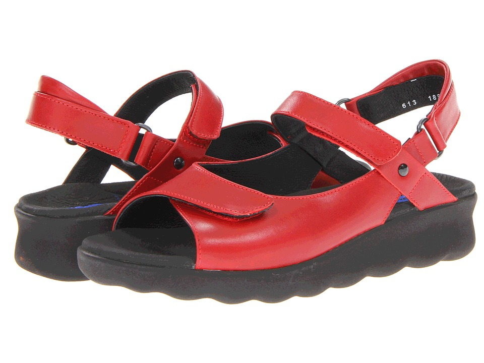 Wolky Pichu Red Leather Womens Sandals
