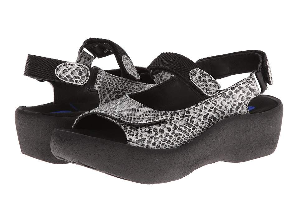 Wolky Jewel (White/Black Snake Print) Sandals