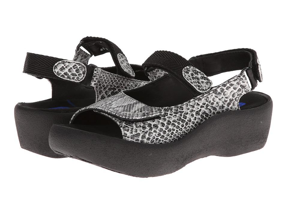 Wolky Jewel (White/Black Snake Print) Women's Sandals