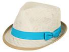 LAUREN Ralph Lauren - Linen Patmos Fedora (Natural/Crystal Turquoise) - Hats