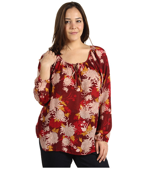 Lucky Brand - Plus Size Rhiannon Printed Peasant Blouse (Red Multi) - Apparel