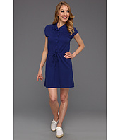 Lacoste - Cap Sleeve Fluid Pique Drawstring Waist Polo Dress