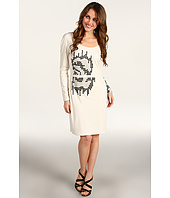Halston Heritage - Long Sleeve Round Neck Embellished Dress
