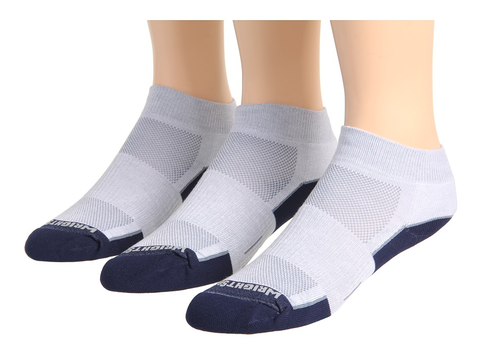 Wrightsock DL FUEL Lo 3 Pair Light Grey/Navy Low Cut Socks Shoes