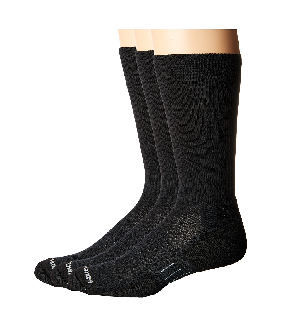 Wrightsock - DL FUEL Crew - 3 Pack (Black) Crew Cut Socks Shoes