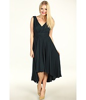 Suzi Chin for Maggy Boutique - V-Neck Pleated Hi-Lo Dress