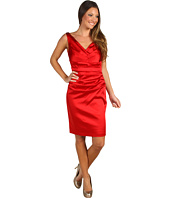 Suzi Chin for Maggy Boutique - V-Neck Stretch Satin Dress