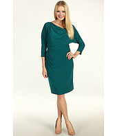 Suzi Chin for Maggy Boutique - 3/4 Sleeve Draped Shoulder Dress