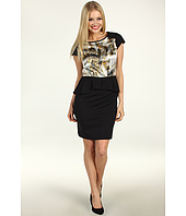 Suzi Chin for Maggy Boutique - Charmeuse Print Bodice Peplum Dress