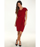 Suzi Chin for Maggy Boutique - Draped Neck Flutter Sleeve Faux Wrap Dress