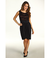 Suzi Chin for Maggy Boutique - Sleeveless Lace Bodice Draped Sheath Dress