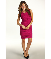 Suzi Chin for Maggy Boutique - Sleeveless Draped Pleated Taffeta Sheath Dress