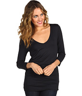 Three Dots - Three-Quarter Length Sleeve V-Neck Double Layer Top
