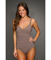 Calvin Klein - Solid Shirred Panel One-Piece Swimsuit