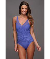 Badgley Mischka - Delphine Shirred Mesh Maillot