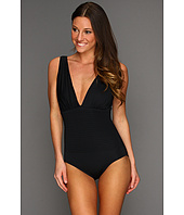 Badgley Mischka - Bella Shirred V-Neck Maillot