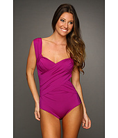 Badgley Mischka - Solids Wide Strap Draped Front Maillot