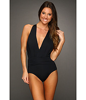 Badgley Mischka - Solids Draped Shirred Dip Back Maillot