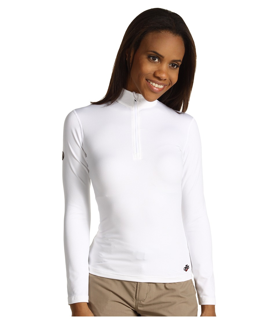 Hot Chillys Micro Elite Chamois 8K Solid Zip T White Womens Long Sleeve Pullover