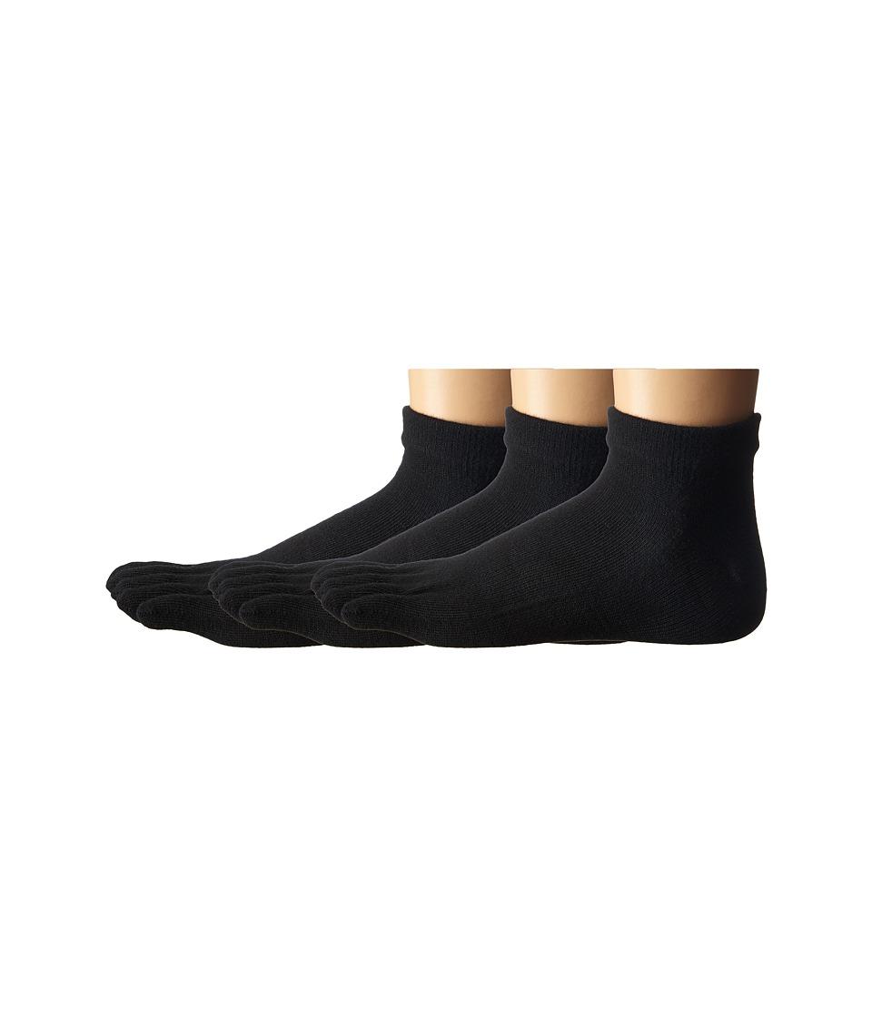 Injinji - Sport Original Weight Micro Coolmax 3 Pair Pack (Black) Quarter Length Socks Shoes