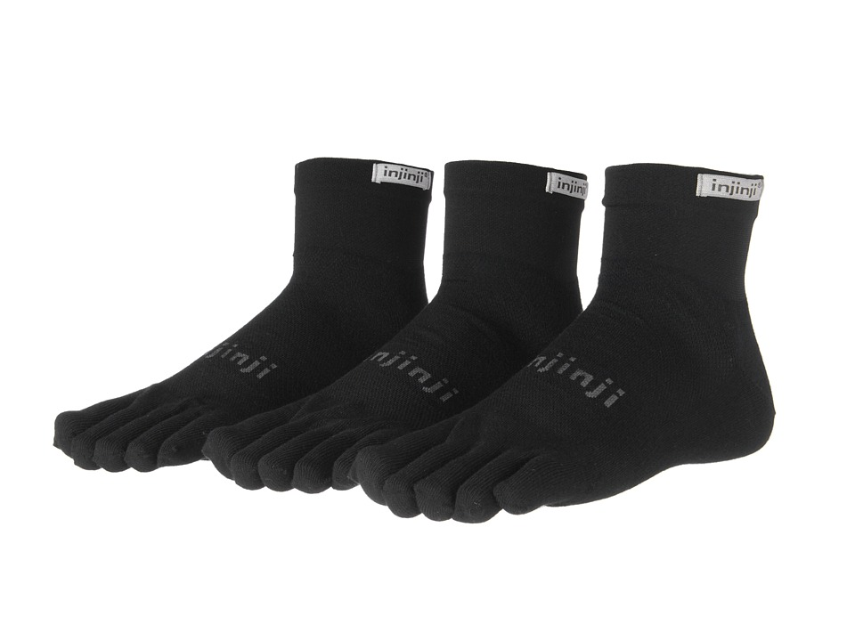 Injinji Run Lightweight Mini Crew Coolmax 3 Pair Pack Black Quarter Length Socks Shoes