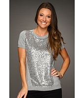Vince Camuto - Silver Sequin Short Sleeve Sweater