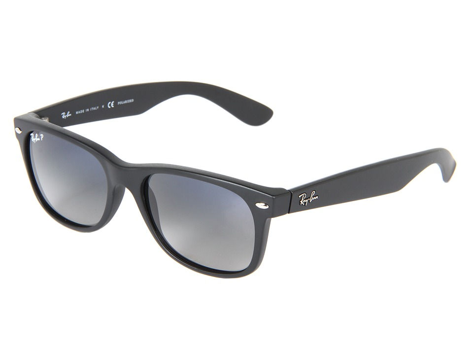 Ray-Ban RB2132 New Wayfarer Polarized 55mm (Matte Black/Gray Blue Mirror Polar) Fashion Sunglasses