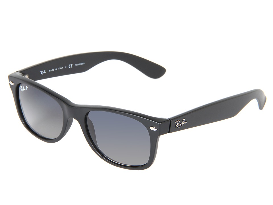 Ray-Ban RB2132 New Wayfarer 52mm (Matte Black Gray/Blue Mirror Polar) Sport Sunglasses