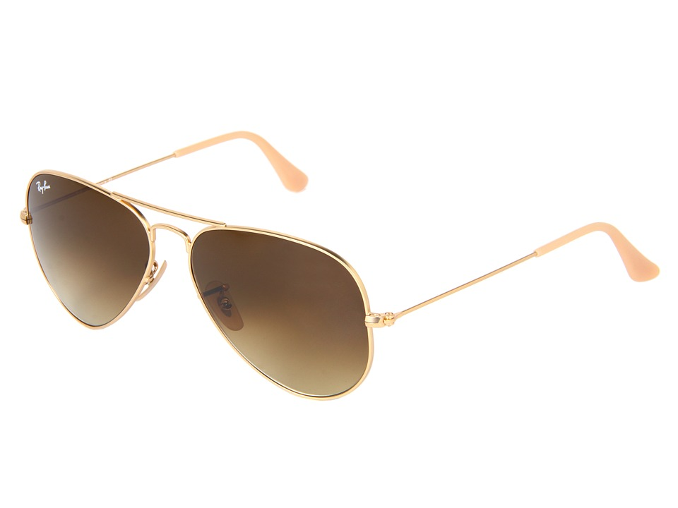 Ray-Ban - RB3025 Original Aviator 58mm (Matte Gold/Gradient Brown) Metal Frame Fashion Sunglasses