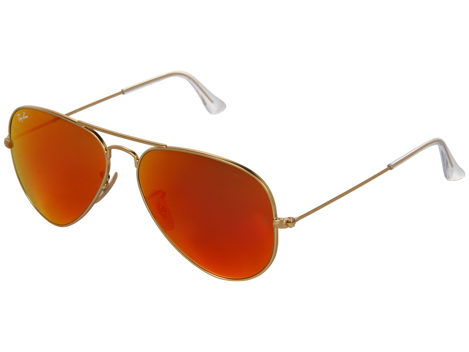 Ray-Ban - RB3025 Original Aviator 58mm (Matte Gold/Red Mirror) Metal Frame Fashion Sunglasses